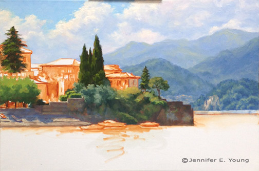 Lake Como Italy painting in progress by Jennifer E Young