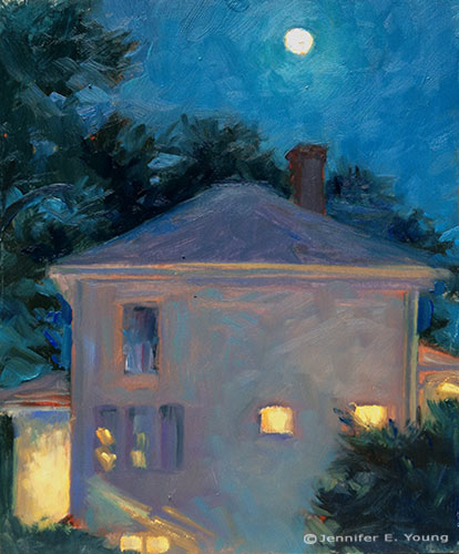 """Four Square on a Full Moon"" Oil on Panel, 10x8"" ©Jennifer E. Young"