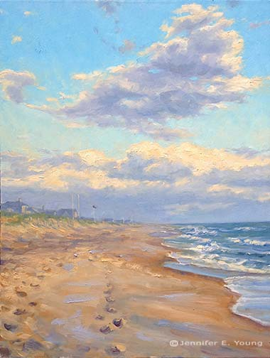 """Clearing Sky on the Outer Banks"" Oil on Canvas, 30x24"" (SOLD) © Jennifer E Young"