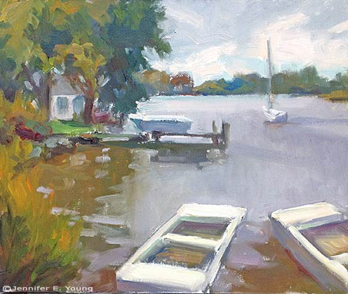 """Docked on a Gray Day"", Oil on canvas, 10x12"" © Jennifer E. Young"