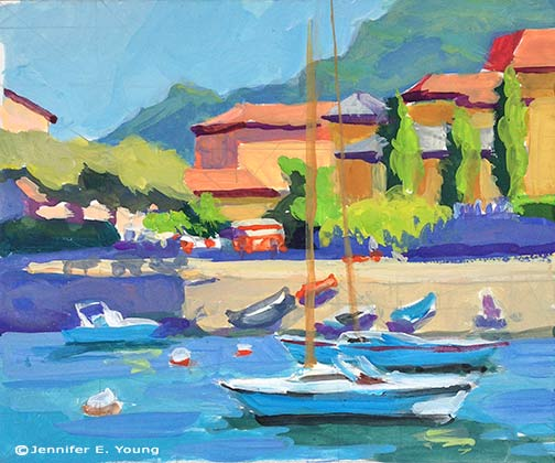 """Colors of Varenna (study) Gouache on Cottonwood Arts Coldpress paper, 5x6"" © Jennifer Young"