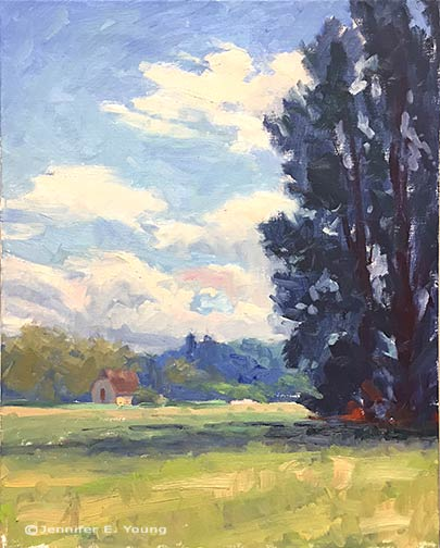 French landscape painting in progress by Jennifer E Young