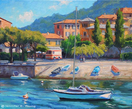 "Varenna Sparkle"" Oil on Linen, 20x24""  ©Jennifer E Young"
