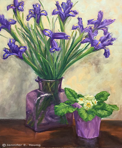 """Primrose and Irises"" Oil on Canvas, 20x16"" © Jennifer E Young"