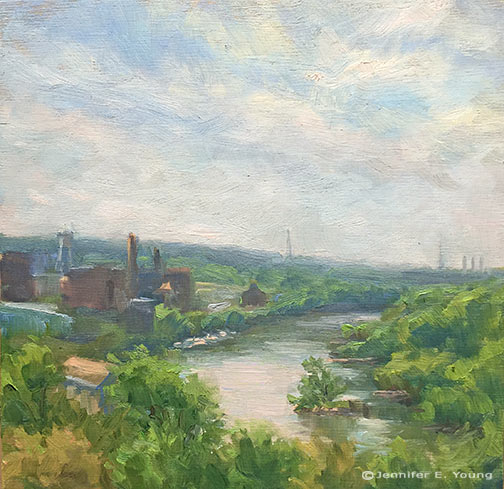 "View from Libby Hill, Richmond Oil on panel, 8x8""  © Jennifer E Young"