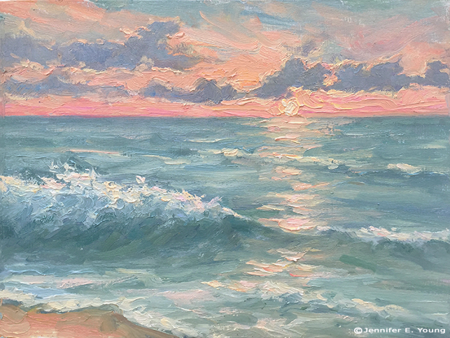 """Sunrise at Nags Head"" Water miscible oils on panel, 9x12"" ©Jennifer E Young"