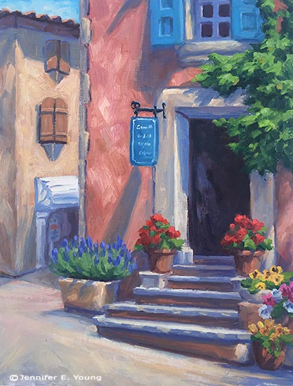"""The Corner Shop, Roussillon"", Oil on Linen, 16x12"" (SOLD) © Jennifer E Young"