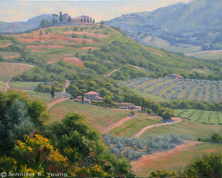 Tuscany landcape painting by Jennifer Young
