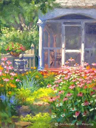 Cottage garden painting by Jennifer E. Young