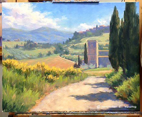 Tuscany landscape painting in progress by Jennifer Young