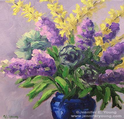 Floral still life of lilacs and forsythia by Jennifer E. Young