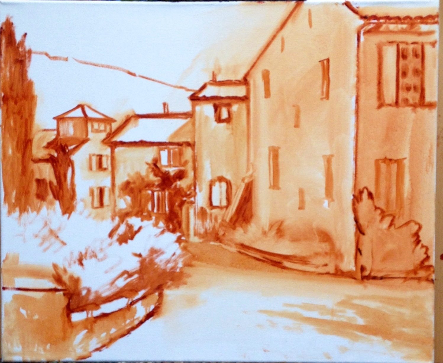 France village painting sketch by Jennifer E Young