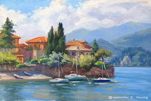 Landscape painting of Lake Como Italy by Jennifer Young