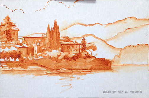 Landscape painting Varenna Italy in progress by Jennifer Young