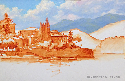 Landscape painting of Varenna Italy in progress by Jennifer E Young