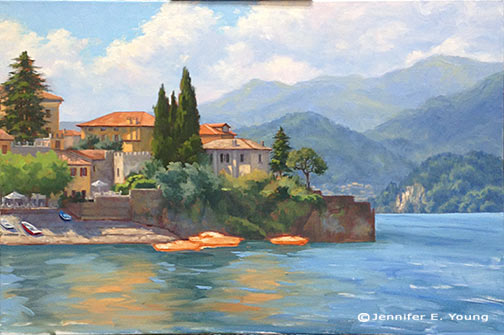 Varenna landscape painting in progress by Jennifer E Young
