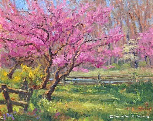 Plein air painting of Redbud trees by Jennifer E Young