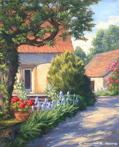 French village painting by Jennifer E. Young