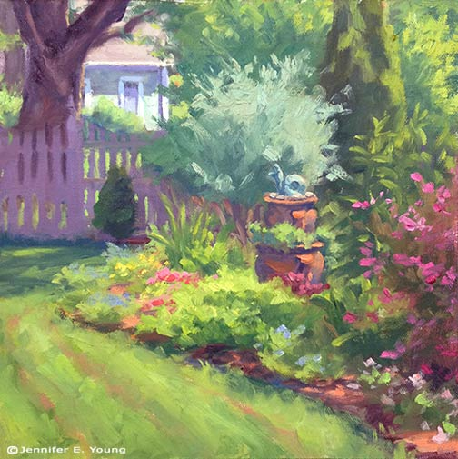plein air garden landscape painting © Jennifer E Young