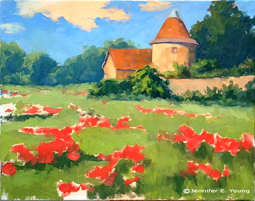 French landscape with poppies in progress © Jennifer E Young