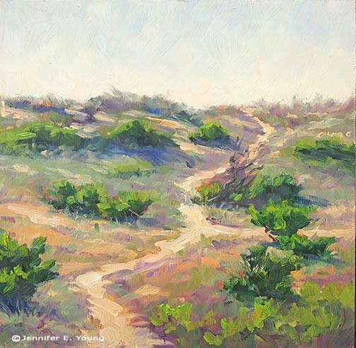 Plein air painting of OBX Dunes by Jennifer E Young
