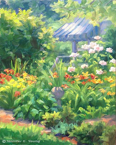 Garden plein air painting by Jennifer E Young