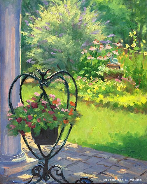 Plein air garden painting by Jennifer Young