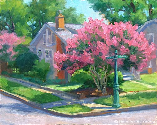 plein air street scene by Jennifer E. Young