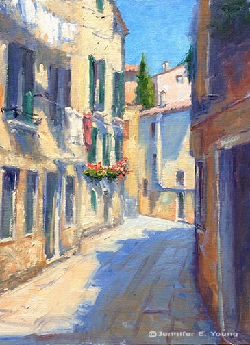 Italian street scene painting by Jennifer E Young