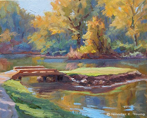 Plein air painting with fall foliage by Jennifer E Young