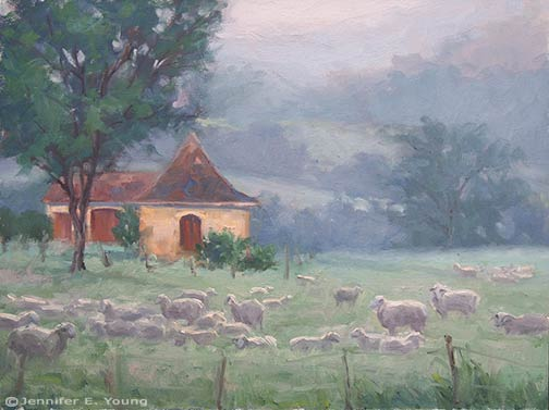 French landscape pastoral painting by Jennifer E Young