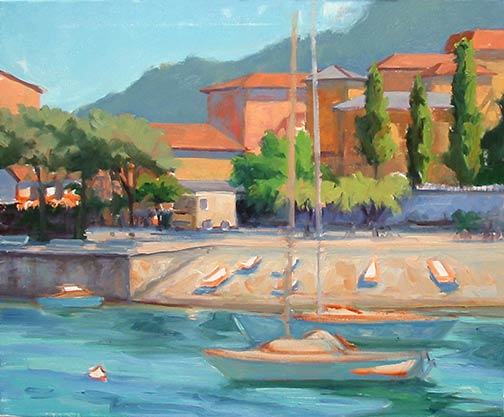Lake Como Italy landscape painting in progress by Jennfier E Young