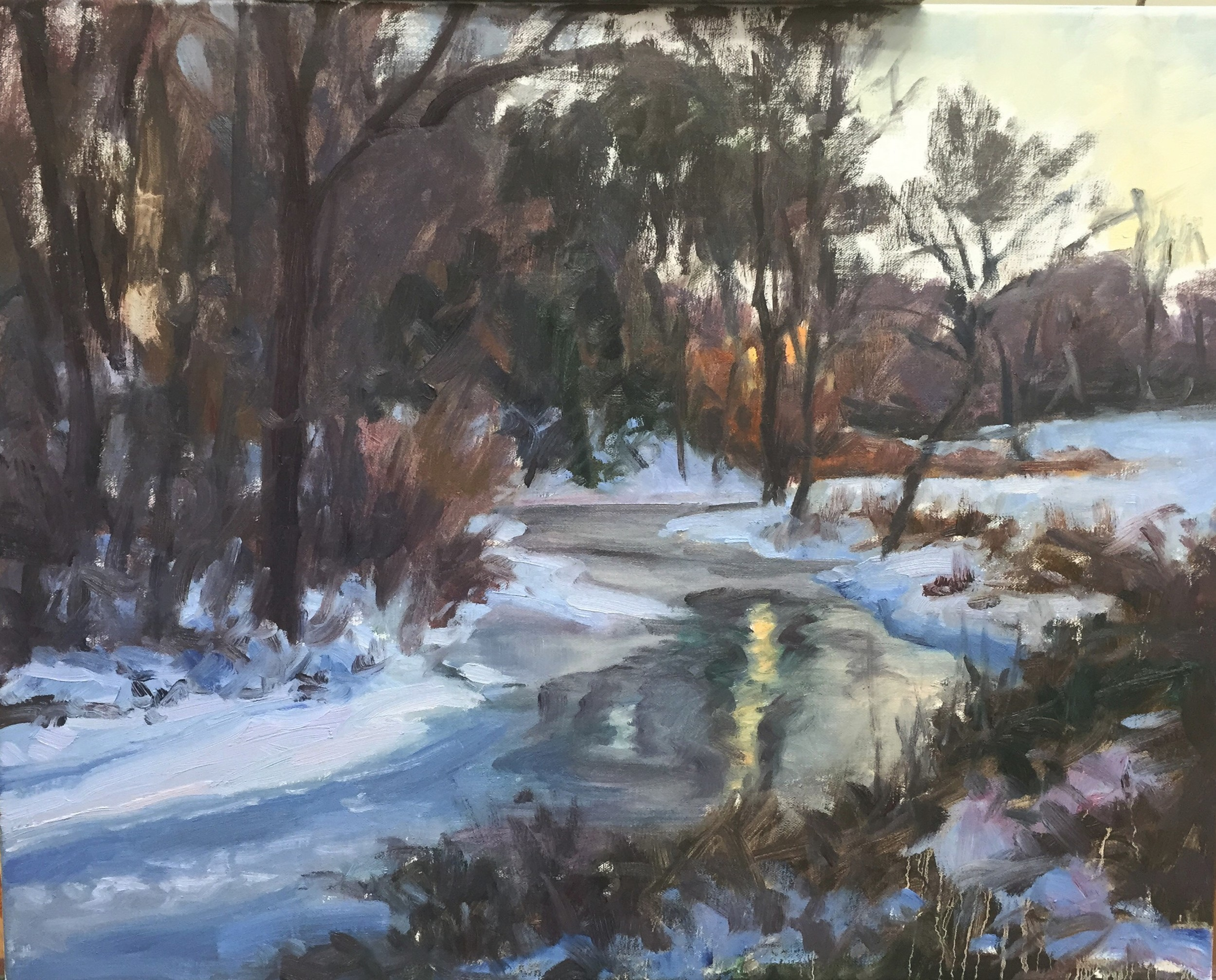 Winter landscape painting in progress by Jennifer E Young