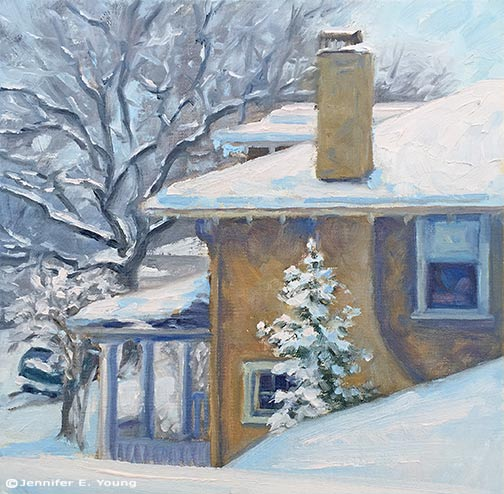 Snowy urban painting by Jennifer E Young