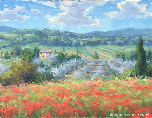 Italian landscape painting with poppies by Jennifer E Young