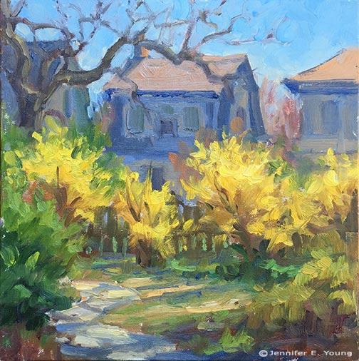 Springtime plein air painting by Jennifer E Young