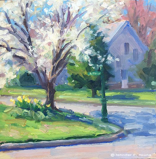 Plein air painting in springtime by Jennifer E Young