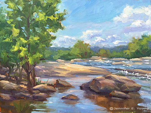 Plein air painting of the James River by Jennifer E Young
