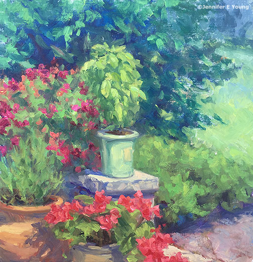 plein air garden painting by Jennifer E Young, All rights reserved