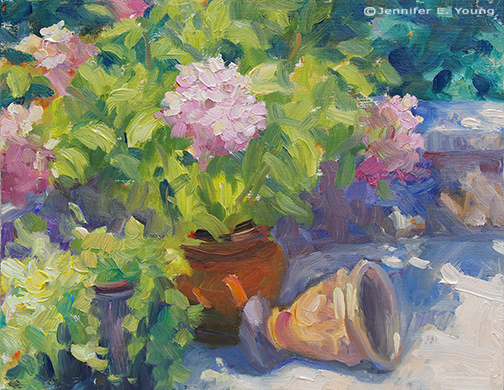 plein air still life floral painting © Jennifer E Young, All rights reserved