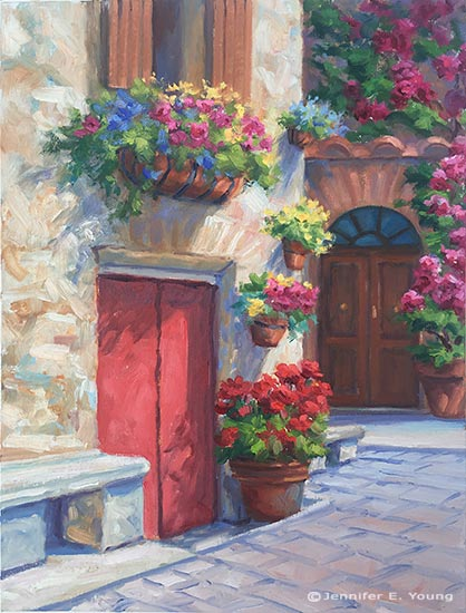 Italian village painting by Jennifer E Young