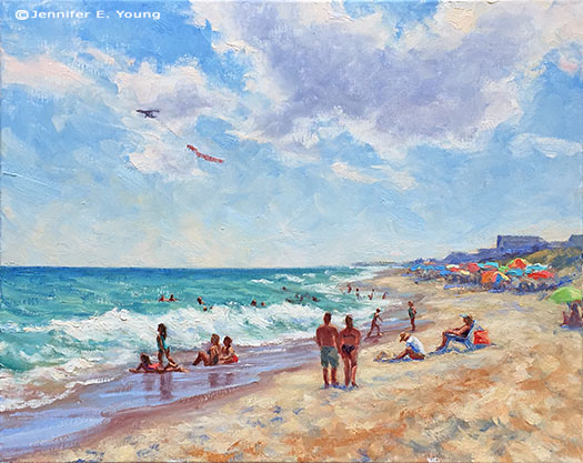 Outer banks beach landscape painting ©Jennifer E Young