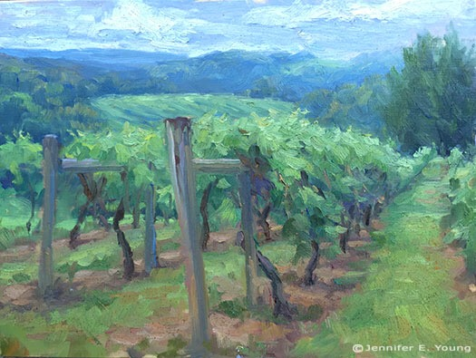 Plein air vineyard landscape painting by Jennifer E Young