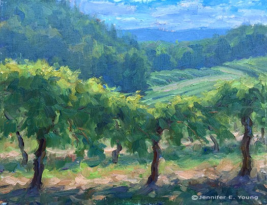 Plein Air landscape painting of Chateau Morrisette vineyard by Jennifer E Young