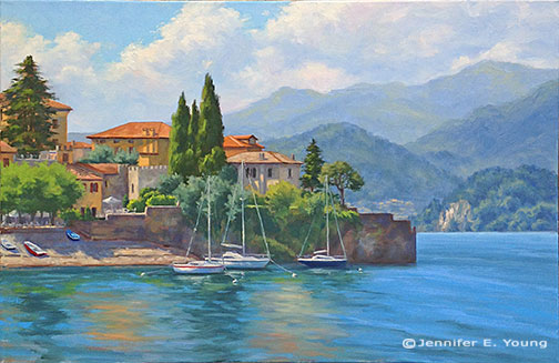 """Sunlit Harbor, Varenna"" Oil on linen, 24x36"" ©Jennifer Young"