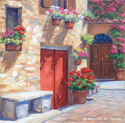 """The Potted Garden, Pienza"" Oil on panel, 12x12"" ©Jennifer Young"