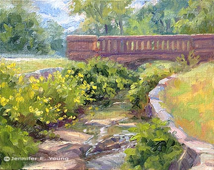"""Morning by the Stream"", Oil on linen, 9x12"" (SOLD) ©Jennifer E Young"