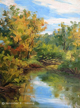 """Early Color, Autumn"" Oil on Linen, 12x9"" ©Jennifer Young"