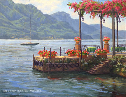 """Alfresco in Pescallo"" Oil on Linen, 24x30"" ©Jennifer Young"