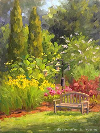 """Garden Sanctuary"" Oil on Canvas, 12x9"" ©Jennifer Young"
